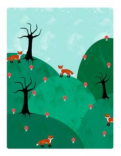 Fox and Mushrooms 8.5 x 11 inch print by CupandCakeart on Etsy, $15.00