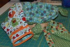 """Kitchen Helper Oven Mitt and Bread Basket Cover"" made with fabric from the Lovely Morning and Joy Basket collections from Blank Quilting."