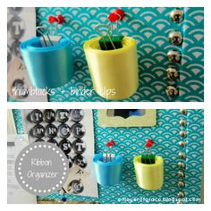 A sweet and simple way to organize extra pieces of ribbon