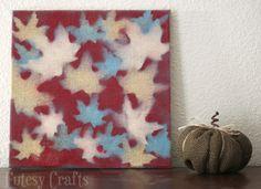 Unique Fall Crafts: Leaf-Stenciled Canvas - diycandy.com