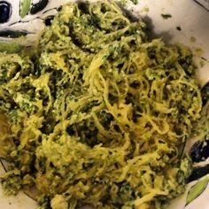 Vegan Spaghetti Squash with Garlic, Spinach, Avocado Basil Sauce!