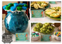 Under the Sea Mermaid Party-Party Food: Marine Marshmallows Conch Shell Pasta Salad-filled with Caesar salad Turtle Eggs- grapes and M & M's