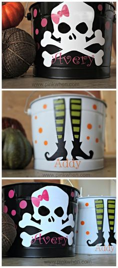 The kids will love these fun Halloween trick or treat buckets!