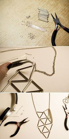 DIY Silver Bugle Geometric Necklace | 46 Ideas For DIY Jewelry You'll Actually Want To Wear