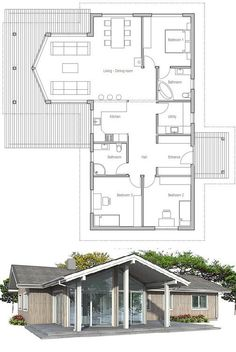 Small house plan with vaulted ceiling in living & dining area. Covered terrace, three bedrooms. Small home design with three bedrooms.