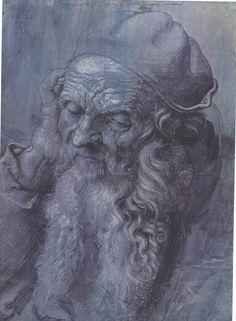 Head-study after a ninty three year old man  Deutsch: Kopfstudie nach einem dreiundneunzigjährigen Mann,  1521
