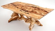 Juniper Dining Table with Exotic Wood Slab Top - Trestle Style Base - item #DT00138 - Base Can Be Color Finished - Custom Sizes Available