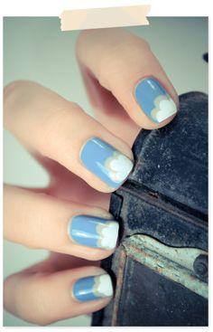 clouds, cloudi nail, cloud mani, makeup, nail nail, beauti, nails, nail art, cloud nail