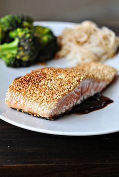 sesame crusted salmon.