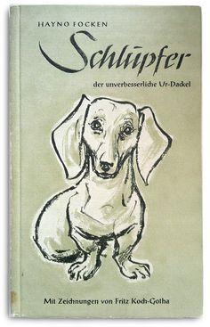 Vintage dachshund illustration on book cover