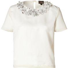 GIAMBATTISTA VALLI Crystal Embellished Wool-Silk Blend Top