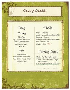 The Shopping Duck - Cleaning Schedule