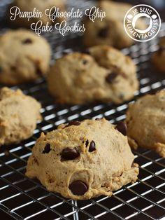 Pumpkin Chocolate Chip Cake Cookies | alimentageuse.com #pumpkin #cookies #holidays