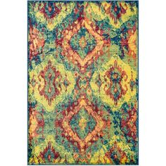 $315 Loomed rug with a multicolor ikat diamond motif.  Product: RugConstruction Material: PolypropyleneCo...