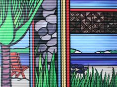 Outdoor Art. Corrugated Iron Garden Art by Sarah C. Title: Tasman Shoreline. See www.sarahc.co.nz