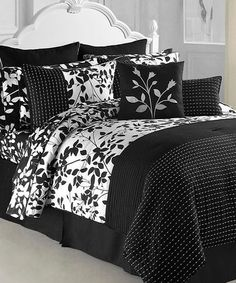 Take a look at this Black & White Shadow Vine Comforter Set by Victoria Classics on #zulily today!