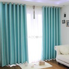 Turquoise sound-proofing blackout curtains