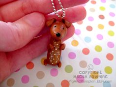 Mini Charm - Delilah Dachshund - Mini Paperclay Sculpture - Necklace OR Ornament.