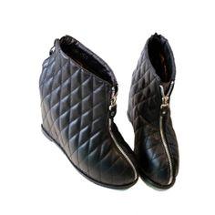 Rhombus Lattice and Double Zipper Design Women's Ankle Boots $25.82