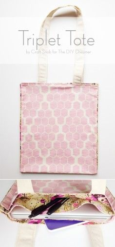 Triplet Tote Sewing Tutorial by Craft Snob plus 6 other gorgeous spring crafts you don't want to miss!