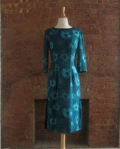 Vintage 1960s Wiggle Dress  50s 60s Floral Wiggle by GildedGypsies