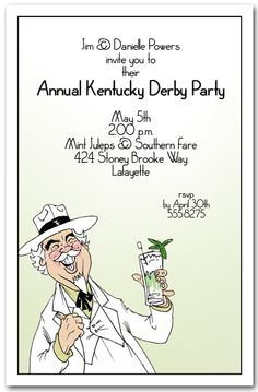 Quick Mint Julep recipe plus unique, exclusive Kentucky Derby Party Invitations from Announcingit.com