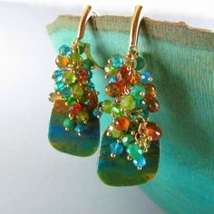 Peruvian Opal and Asoorted Gemstone Gold Filled Earring Cluster Earrings