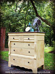 """Annie Sloan """"Cream"""" + dark wax.  My Passion For Decor: Creamy Butter Yellow Dresser"""