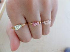 So sweet wire bead ring diy, bead earrings, kids diy, bead rings, beaded rings, craft tutorials, seed beads, diy rings, christmas gifts