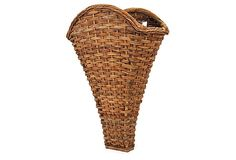 French Country Style Wall Basket by Mainly Baskets  I think this would make a lovely door bucket filled with flowers. Hang outdoors or indoors.