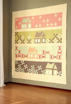 """House quilt made with Mirabelle Fig Tree fabrics.  Pattern is called """"Calling me Home"""" from http://robinsonpatterncompany.com/2014/02/24/calling-me-home-is-home/"""