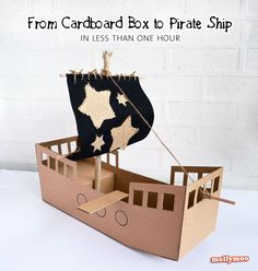 DIY Cardboard Pirate Ship - no painting, no papier mache, easy to make in less than 1hour
