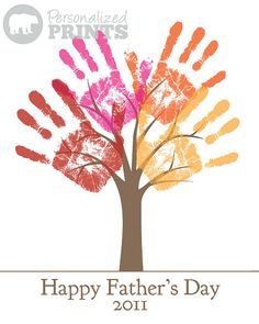 Handprint tree. Great idea for gift giving: Christmas, Father's Day, Mother's Day.