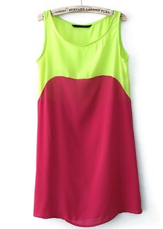 Green Contrast Red Sleeveless Chiffon Dress - Sheinside.com