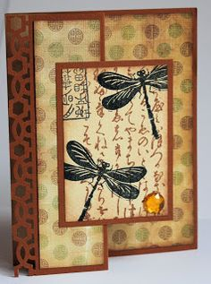 handmade card from My creative rumblings: Oriental Stamp Art-Dragonfly Swap ... earthy tones ... fancy fold  ... like a Z-fold ... like the collage look of the overhang panel ... delightful card!