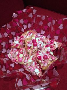 Valentine M Bars. Valentine dessert recipes don't come any easier than this. Simple and delicious.