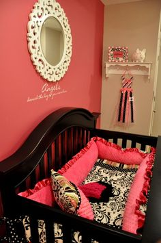 Hot pink baby bedding. <3