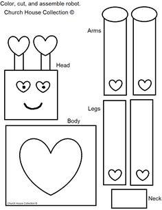 Church House Collection Blog: Robot Valentine Craft For Kids valentine crafts, valentin robot, school, church, valentin craft, robot valentin, love craft for kids jesus, robot crafts for kids, blog