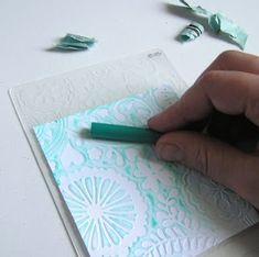 paper crayon, idea, craft, crayon rub, mel stampz, card, papers, emboss, crayons