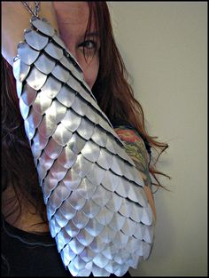 SILVER Scalemail full arm bracer DragonScale chainmail armor LARP gauntlet. $75.00, via Etsy.