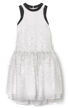 Prabal Gurung Embroidered Drop Waist Tinsel Dress at Moda Operandi #nyfw #ss2013 #white #embellished