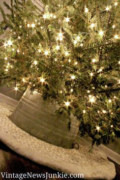 How to Make a Tree Skirt out of a Galvanized Tub {My Crate & Barrel Knock-Off}