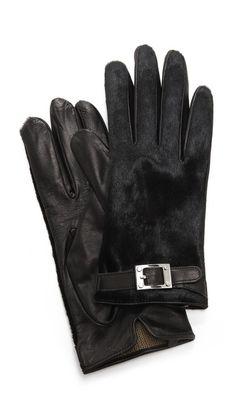 Rachel Zoe Haircalf Gloves with Signature Buckle