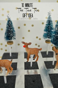10 Minute Gift Idea -- Tic Tac Toe Game!! -- Tatertots and Jello #DIY #giftideas