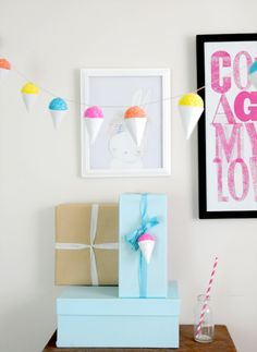DIY Faux Snow Cone Party Garland & Gift Embellishment | Creature Comforts
