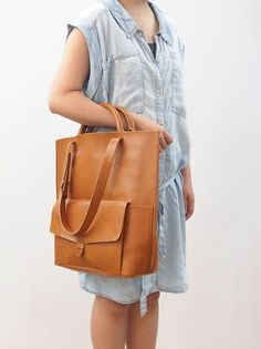 Personalized Tote Bag - Leather - Hand Stitched