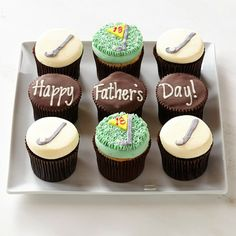 Happy Father's Day Cupcake Sampler #williamssonoma - Have writing on one cup cake... Thursday and numbers 08 07 1993 (use the Hawaii text and flowers as below)