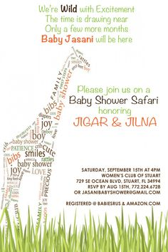 Like the wording on this invite - The giraffe is neat too