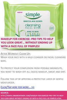 Makeup for exercise: Pro tips to help you look great... without ending up with a face full of pimples! - After workout clean up - Click for more: http://www.urbanewomen.com/makeup-for-exercise-pro-tips-to-help-you-look-great-without-ending-up-with-a-face-full-of-pimples.html
