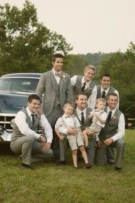 I'll take a groom and a wedding party that looks like that. Please and thank you. Love the grey suits, too!